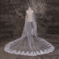 Handmade Ivory Soft Tulle Veil Lace Applique Edge Bridal Cathedral Long Veils Fashion Wedding Accessories New