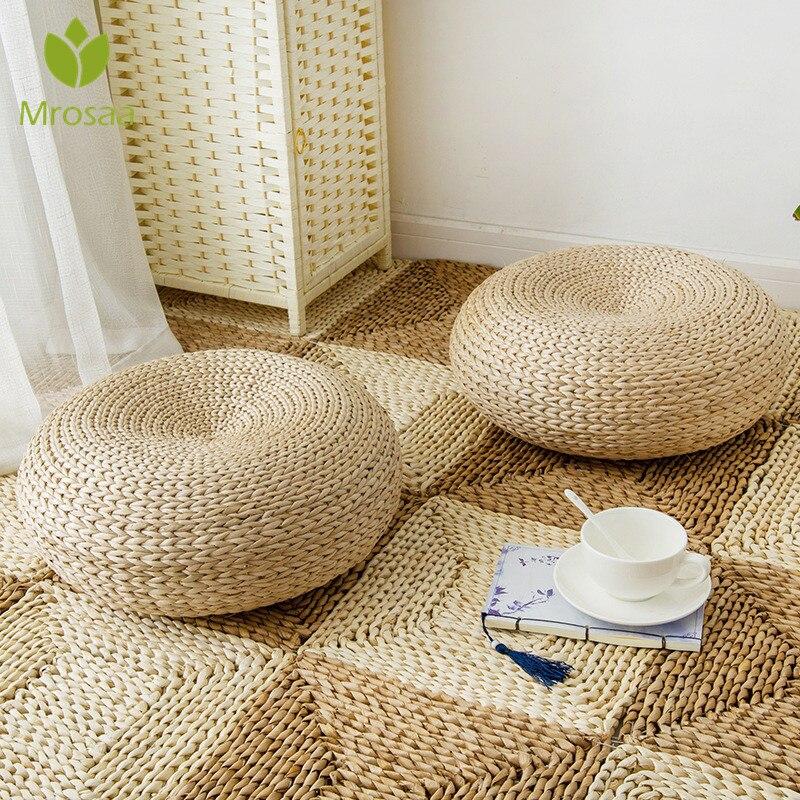 Di nuovo di Tessitura di Paglia Naturale Rotonda Addensare Tatami Cuscino Cuscini Sul Pavimento Meditazione Yoga Rotonda Zerbino di nuovo La Finestra Pad Sedia Cuscino Seduta
