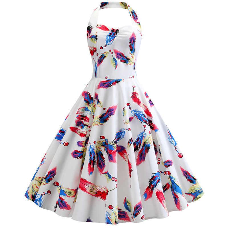 2019 vermelho halter vestido de festa feminino verão grande balanço 60s 50s rockabilly robe vintage pin up vestidos com cinto plus size robe femme