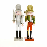 2pieces/lot 23cm Christmas Wooden Figurines Craft Nutcracker Soldier Christmas Home Deocration Shining Nutcrackers