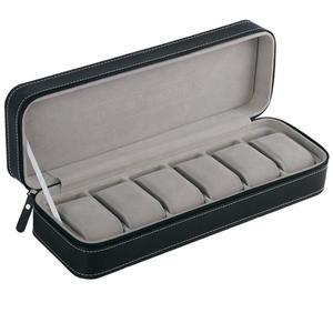Image 1 - 6 fente boîte de montre Portable voyage fermeture éclair boîtier collecteur stockage bijoux boîte de rangement (noir)