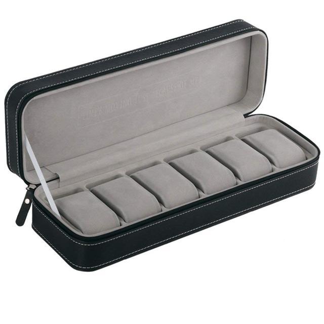 6 fente boîte de montre Portable voyage fermeture éclair boîtier collecteur stockage bijoux boîte de rangement (noir)