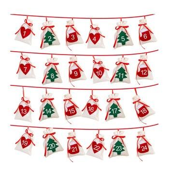 Adviento Calendario.Algodon Navidad Adviento Calendario Guirnalda 24 Piezas 11x16 Cm Colgante Adviento Calendario Regalo Bolsas Ano Nuevo 2019 Familia Calendario