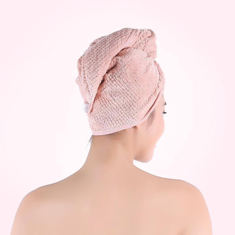 Household Solid Soft Breathable Water-absorbing Dry Bathroom Unisex Hair Cap Pink, Coffee, Beige 0.073KG