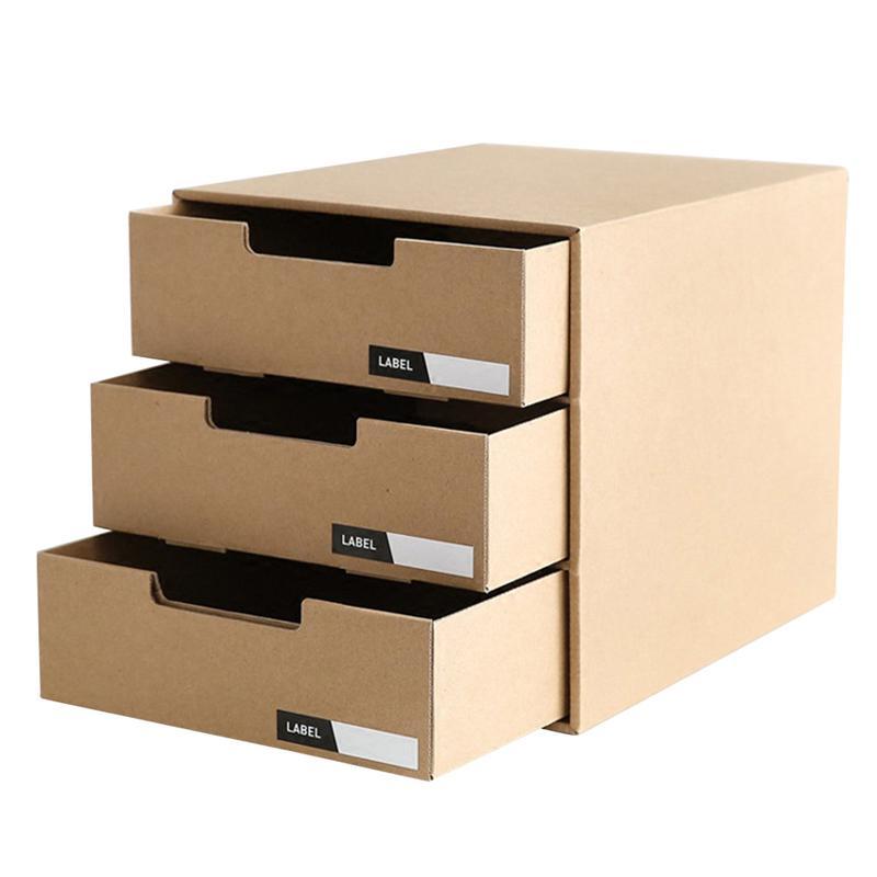 Kraft Paper Desktop Storage Box Drawer Type Stationery Container Document Holder Makeup Organizer (with Horizontal Lable) makeup organizer box