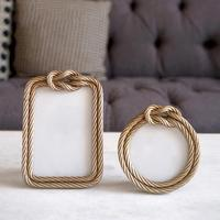 Creative Photo Frame Nordic Style Innovative Golden Hemp Rope Shaped Photo Frame Resin Decoration Simple Modern Crafts