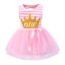 Summer baby dress Lovely Kids Girls Mini Party Dress Toddler Crown printed Cotton Clothes for 1 year girl