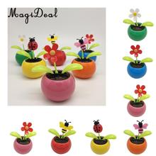 0ca479a53b6565 Solar Powered Insect Flower Sunflower Dancing Swing Doll Flip Flap Toy Home  Decor Car Ornament Flowerpot