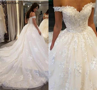 Vestido De Noiva Luxury V neck Ball Gown Princess Wedding Dress Lace Off Shoulder Royal Train Wedding Gown Robe De Mariee
