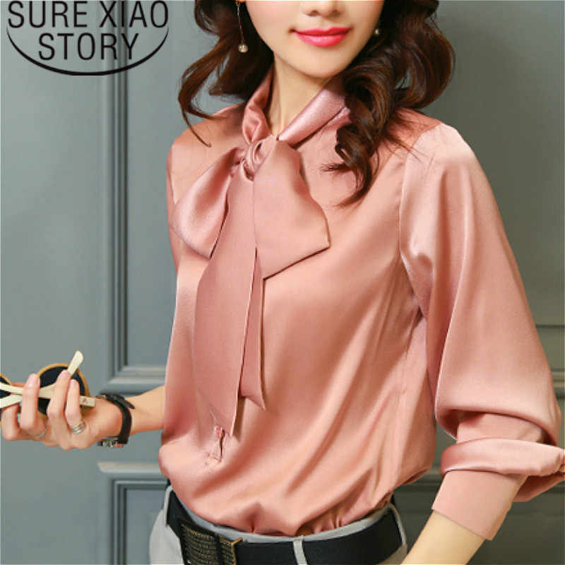womens tops blouses blusas mujer de moda 2019 chiffon blouse Solid Bow V-Neck lantern Sleeve plus size Full blouse  2198 50