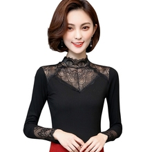 Spring Summer Lace Blouse Women Turtleneck Long Sleeve Hollow Out Tops Casual Elegant Female Blouses Feminina Blusa Plus Size summer women tops 2019 new women summer casual solid long sleeve turtleneck lace hollow out tops size s xl
