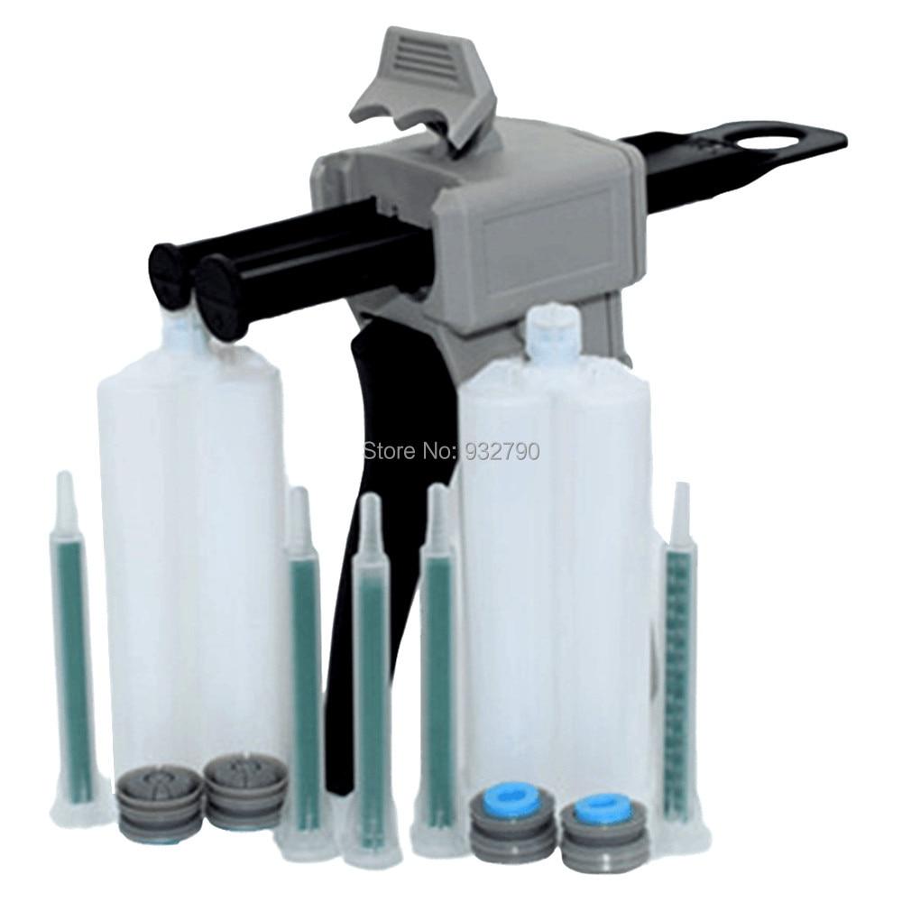 50ml 1:1 2:1 Dispenser Dispensing Caulking Gun + 5pcs Epoxy Resin Static Mixer Mixing Nozzle + 2 Sets AB Glue 2-part Cartridge