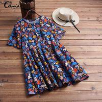 Celmia Vintage Women Mini Dress 2019 Summer Plus Size Tops Short Sleeve Floral Print Dresses Casual Buttons Loose Shirt Vestidos