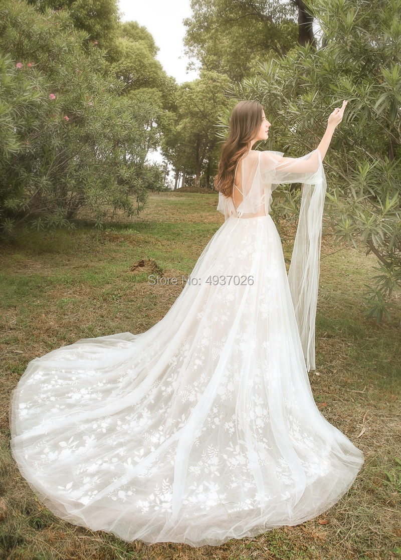 Fairy Lace Bride Wedding Dress With Long Tulle Wing On  Sleeves And Shoulder Photography Ourdoor Ball Gown