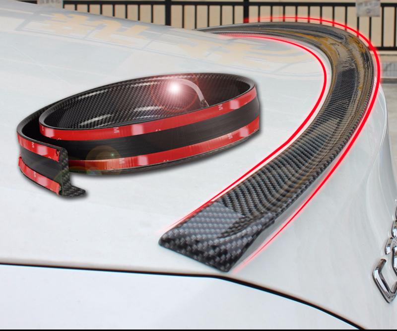 4.9ft (150cm) Universal Black Carbon Fiber Trunk Spoiler Lip Kit Car Rear Spoiler Rear Spoiler Kit Universal Fits for Most Car
