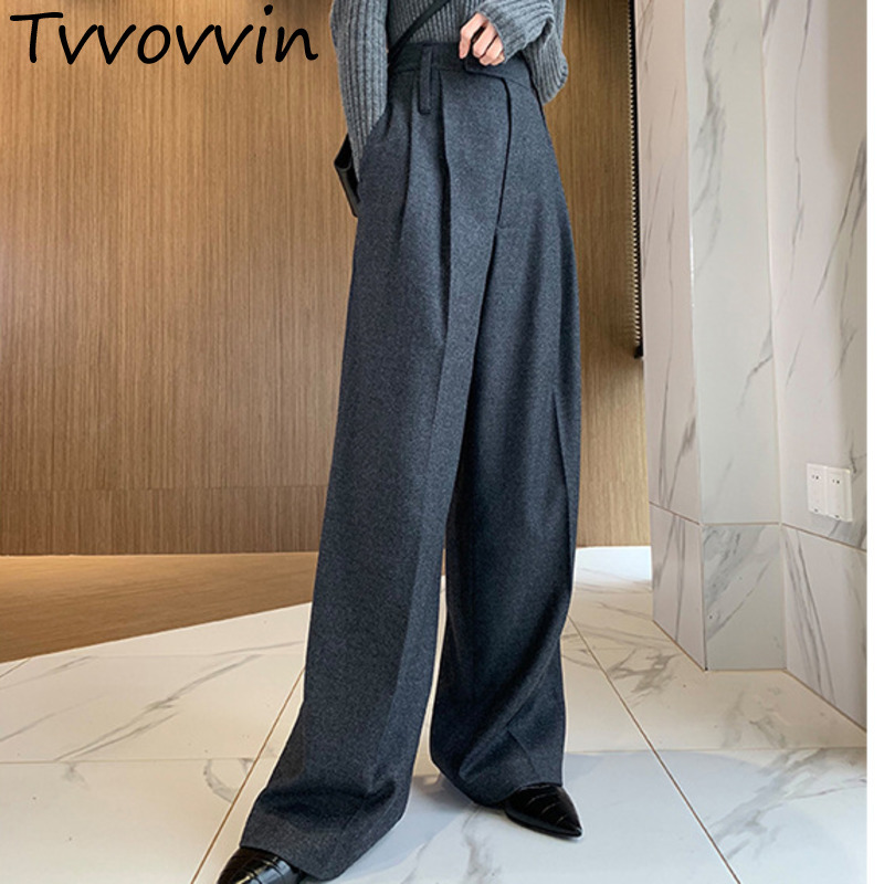 TVVOVVIN 2019 New Solid Loose Wide Leg Pants Casual Hot Sale Trendy Autumn Tide Party Bottoms