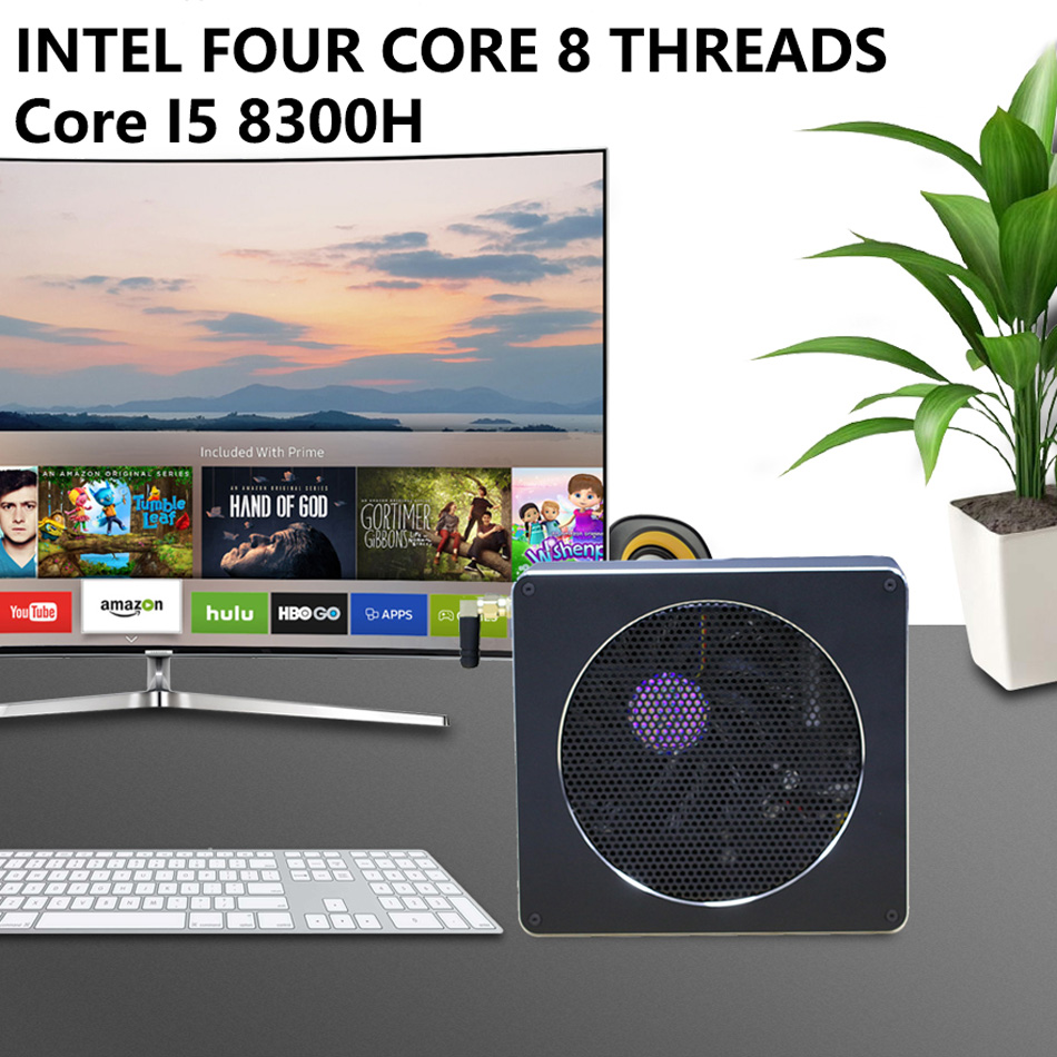 Mini PC,Desktop Computer,with Windows 10 Pro/Linux Ubuntu Support,Intel Core I5 8300H,[HUNSN BY01L],[4USB3.0/HD/RJ45/Mini DP]