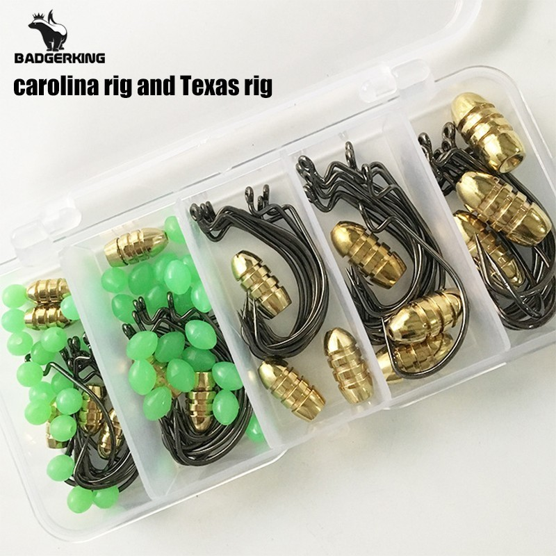 Carolina Rig Fishing Hook Tackle Box Set With Texas Offset Fishhooks  Copper Bullet Sinker Weight Luminous Beads For Fishing