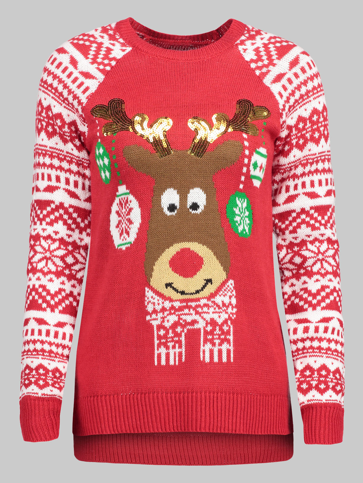 69fddce698c Wipalo Women Plus Size Christmas Reindeer Pullover Sweater Casual Crew Neck Raglan  Sleeve Fall Winter Ugly Christmas Sweater-in Pullovers from Women s ...