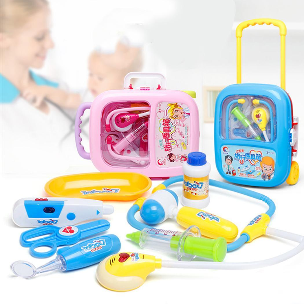 Children Simulation Doctor Toy Portable Medical Tools Kit Trolley Random Case Toy 3-14 Years Old