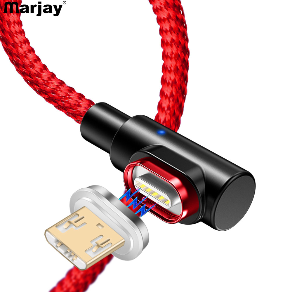 Marjay 90 Degree Micro USB Magnetic <font><b>Cable</b></font> Fast Charging Adapter Phone <font><b>Cables</b></font> Microusb Android Charger For <font><b>Samsung</b></font> Xiaomi Redmi image