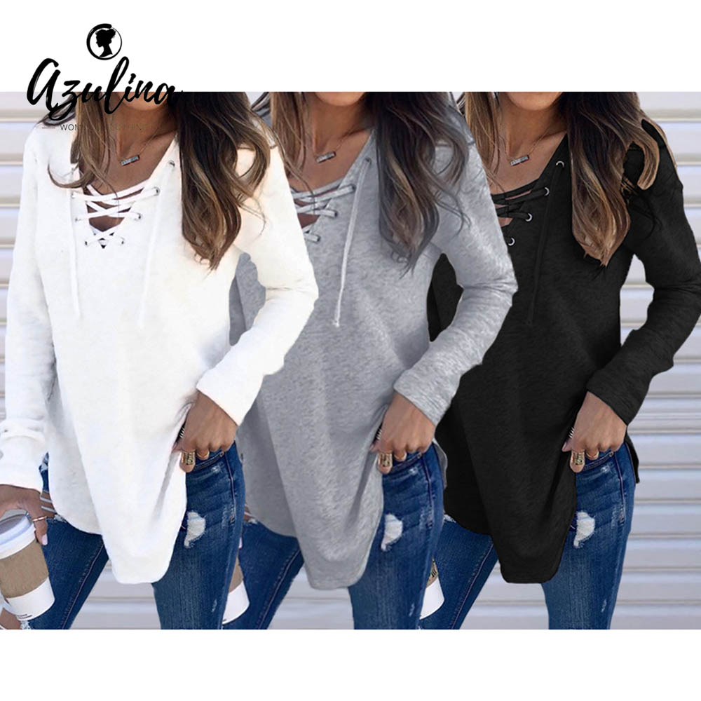 AZULINA Pull Femme Women V Neck Long Sleeve Knitted Sweater Ladies Tops  Female Women s Clothing Lace a10a2cf0c