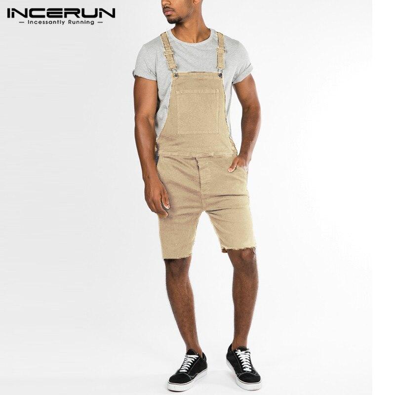 Mens Retro Jean Shorts Jumpsuit Romper Cargo Bib Shorts