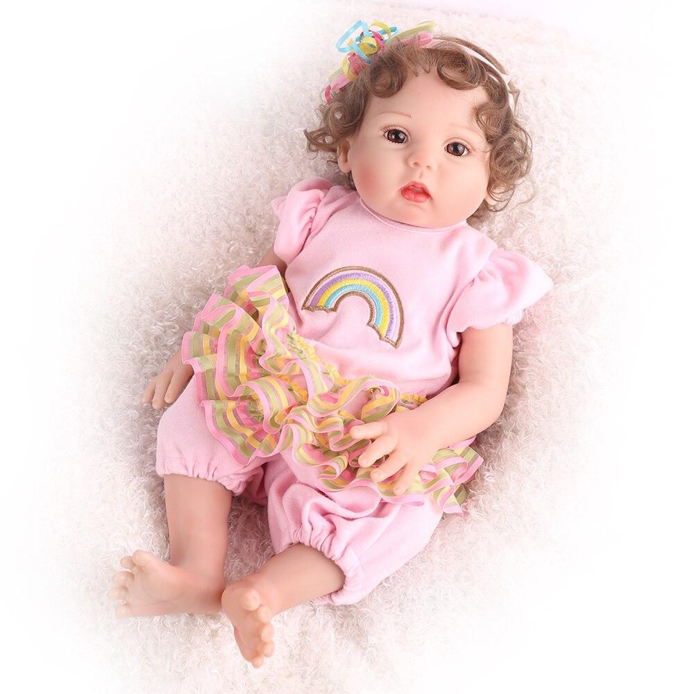 Newest 45cm Reborn Baby Doll Full Vinyl Soft Lifelike Alive Girl Doll Bath Toy Cute Bebe