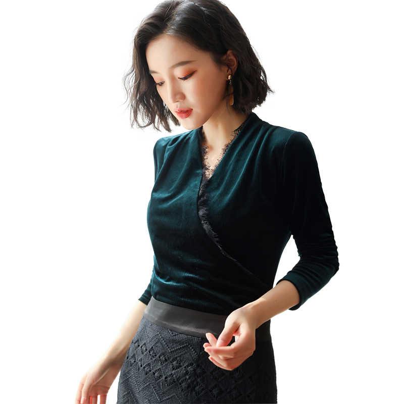 42b24adc50d42 sexy v-collar velvet women t-shirt 2019 spring shiny long sleeve lace shirt