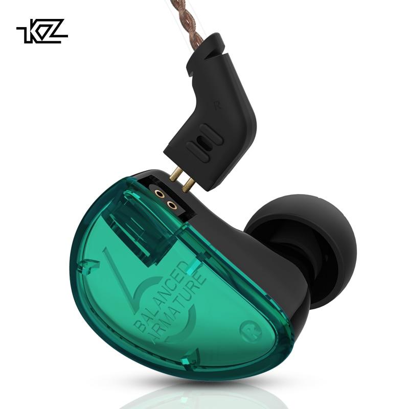 KZ AS06 Dans L'oreille Écouteurs 3BA Armature Équilibrée Pilote Casque HIFI Basse Dans L'oreille Moniteur Sport Casque Antibruit Écouteurs
