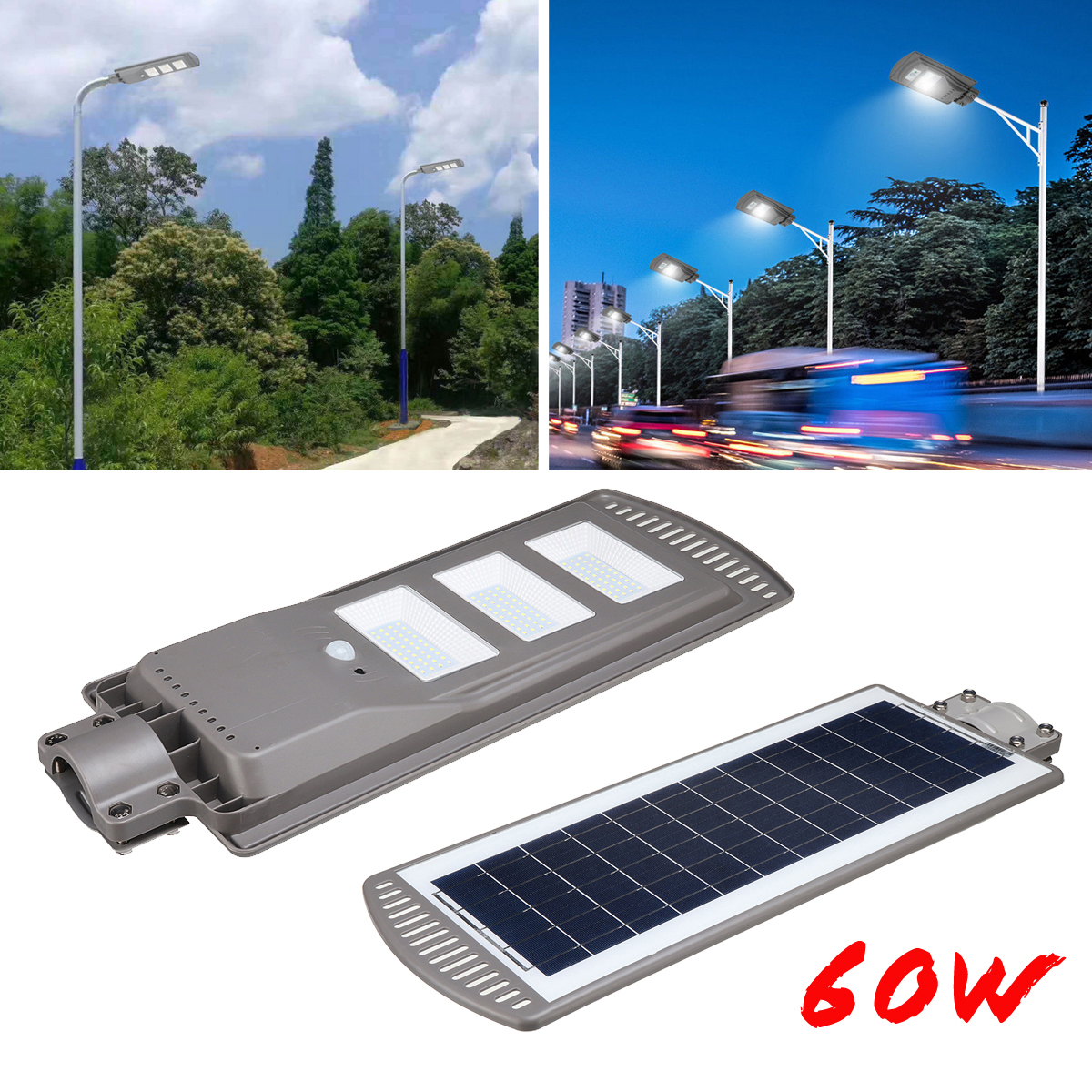 Us 63 05 47 Off 1pc 60w Solar Ed Panel Led Street Light All In 1 Time Switch Waterproof Ip67 Wall Lighting Lamp For Outdoor Garden