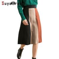 Women Long Skirt Wool Blend Spring Knitted Spandex Skirt for Women Empire Elastic Waisted A Line Skirts 2019 New Spring