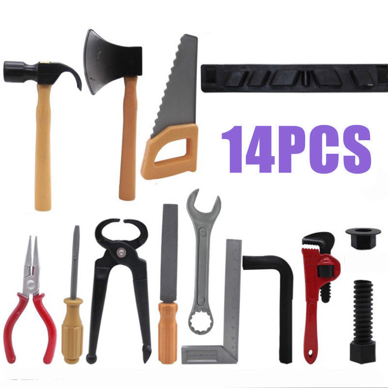 14pcs Plastic Hammer/Screwdriver/Wrench Repair Tools Toy Set For Kids Children