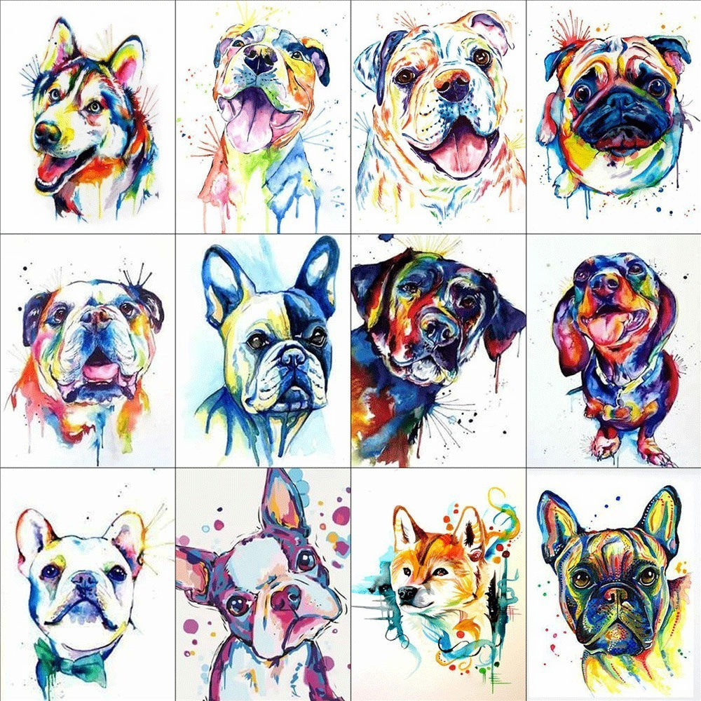 HUACAN 5D DIY Diamond Painting Animal Full Square Rhinestone Colorful Dog Diamond Embroidery Cross Stitch Mosaic Home DecorationHUACAN 5D DIY Diamond Painting Animal Full Square Rhinestone Colorful Dog Diamond Embroidery Cross Stitch Mosaic Home Decoration