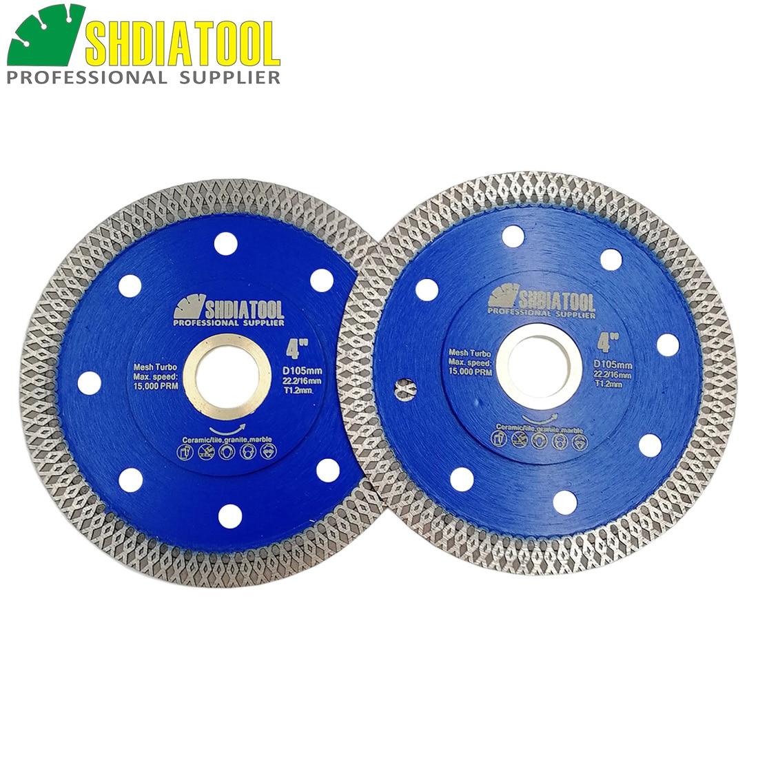 SHDIATOOL 2pcs Diamond Cutting Disc X Mesh Turbo Rim Segment Saw Blade Dia 4in/105mm Diamond Wheel Cutting Ceramic Marbel Blade