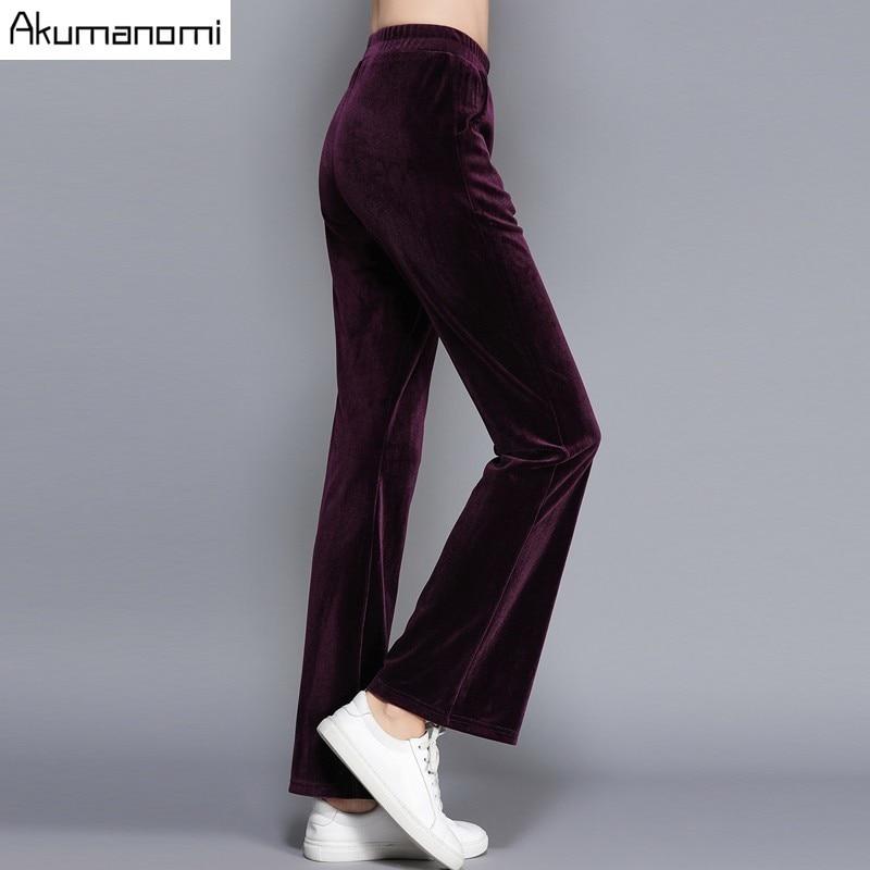 7ab4b34280e0 Осенние велюровые брюки-клеш, длинные штаны, черные, фиолетовые, с  эластичной резинкой на талии, женская одежда, весенние брюки, большие разм.