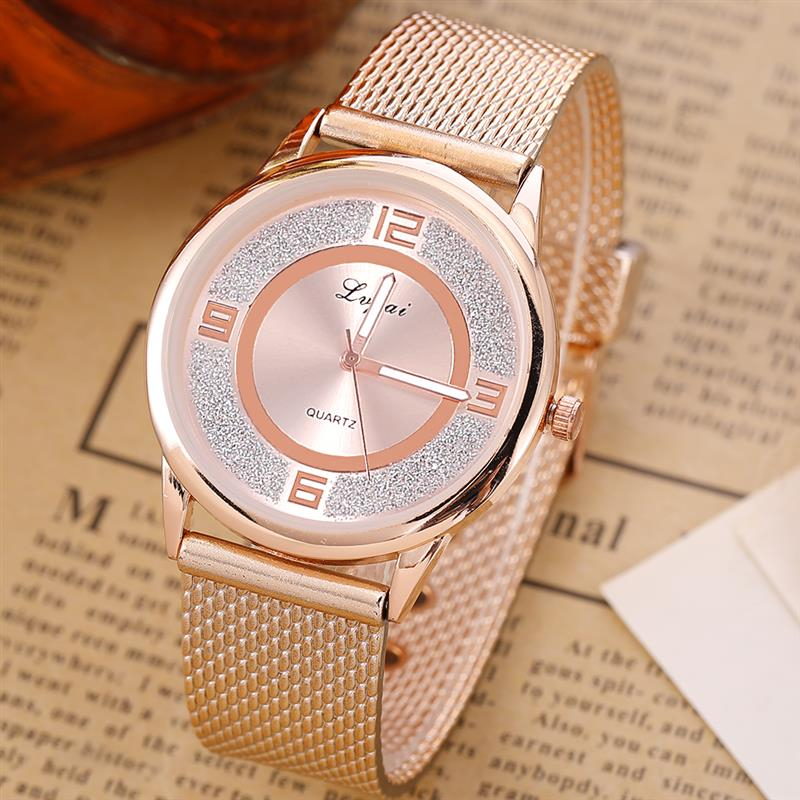 2019 Hot Flash Watch Relogio Feminino Rose Gold Minimalist Mesh Band Quartz Wristwatch Women Female Luxury Scrub Watches