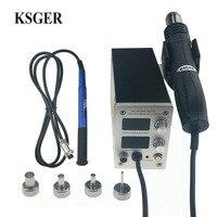 KSGER STM32 OLED T12 Temperature 2 in 1 Hot Air Dryer Digital Rework Soldering Station Solder Iron 9501 Handle