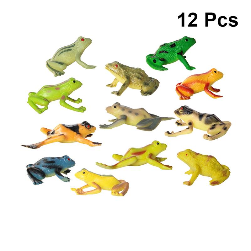 12pcs Frog Toy Simulation PVC Realistic Educational Frog Model Animal Toys for Kids Children