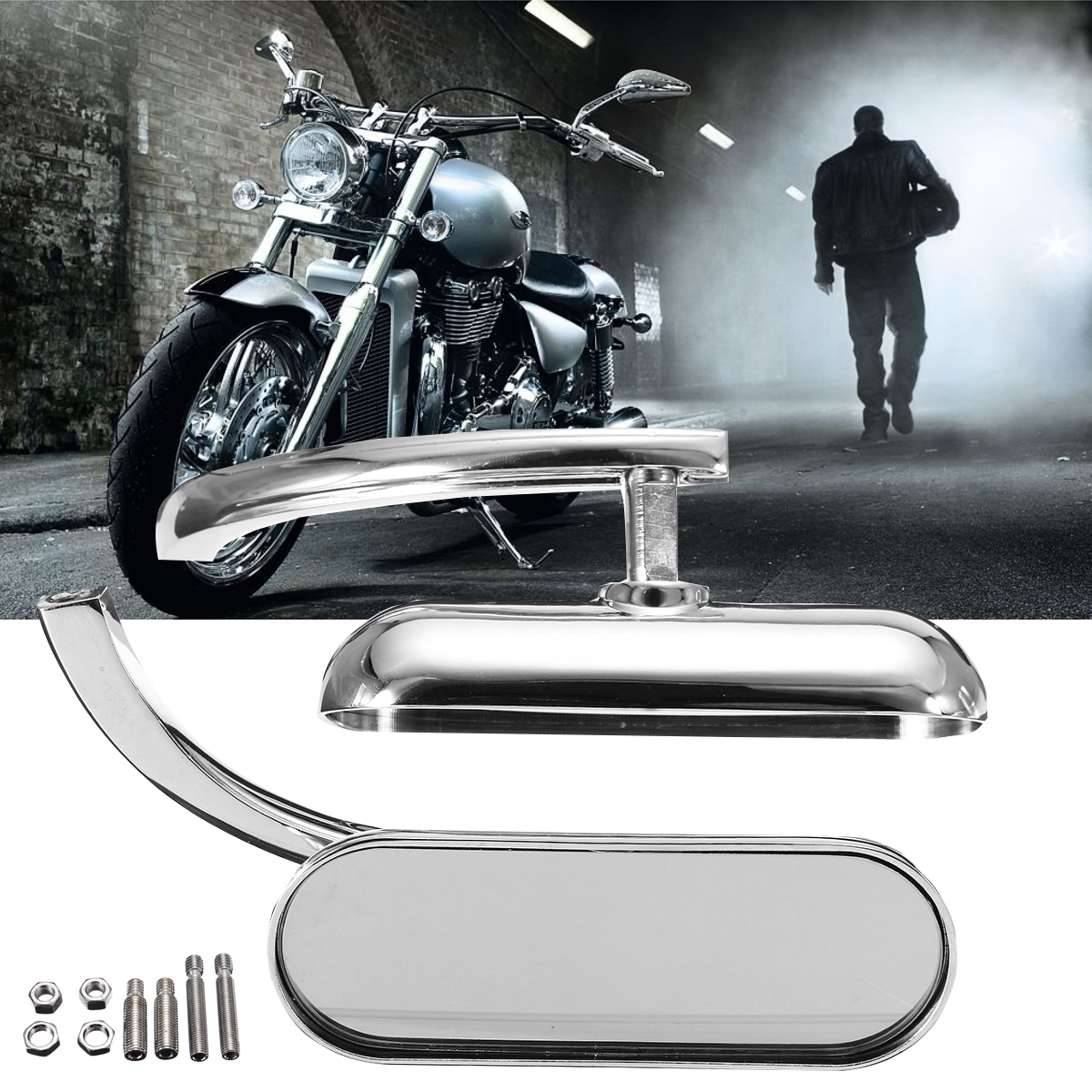 все цены на Silver Mini Oval Left & Right Side Micro Rear View Mirrors for Harley Motorbike Glass Mirror+Aluminum Side Mirrors & Accessories онлайн