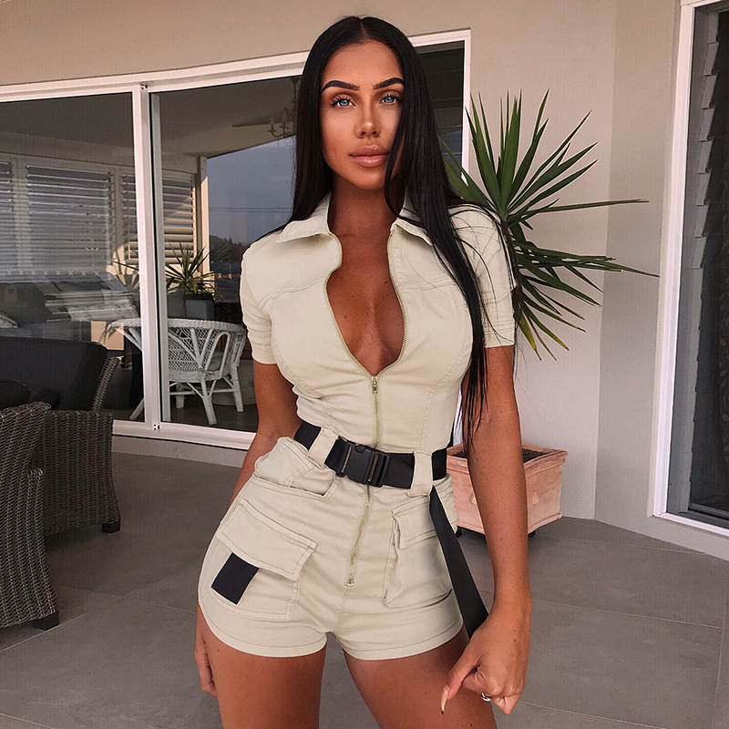 Rompers Womens Jumpsuit Label Turn-down Collar BELTED PLAYSUIT Short Sleeve Detachable Belt Black Beige