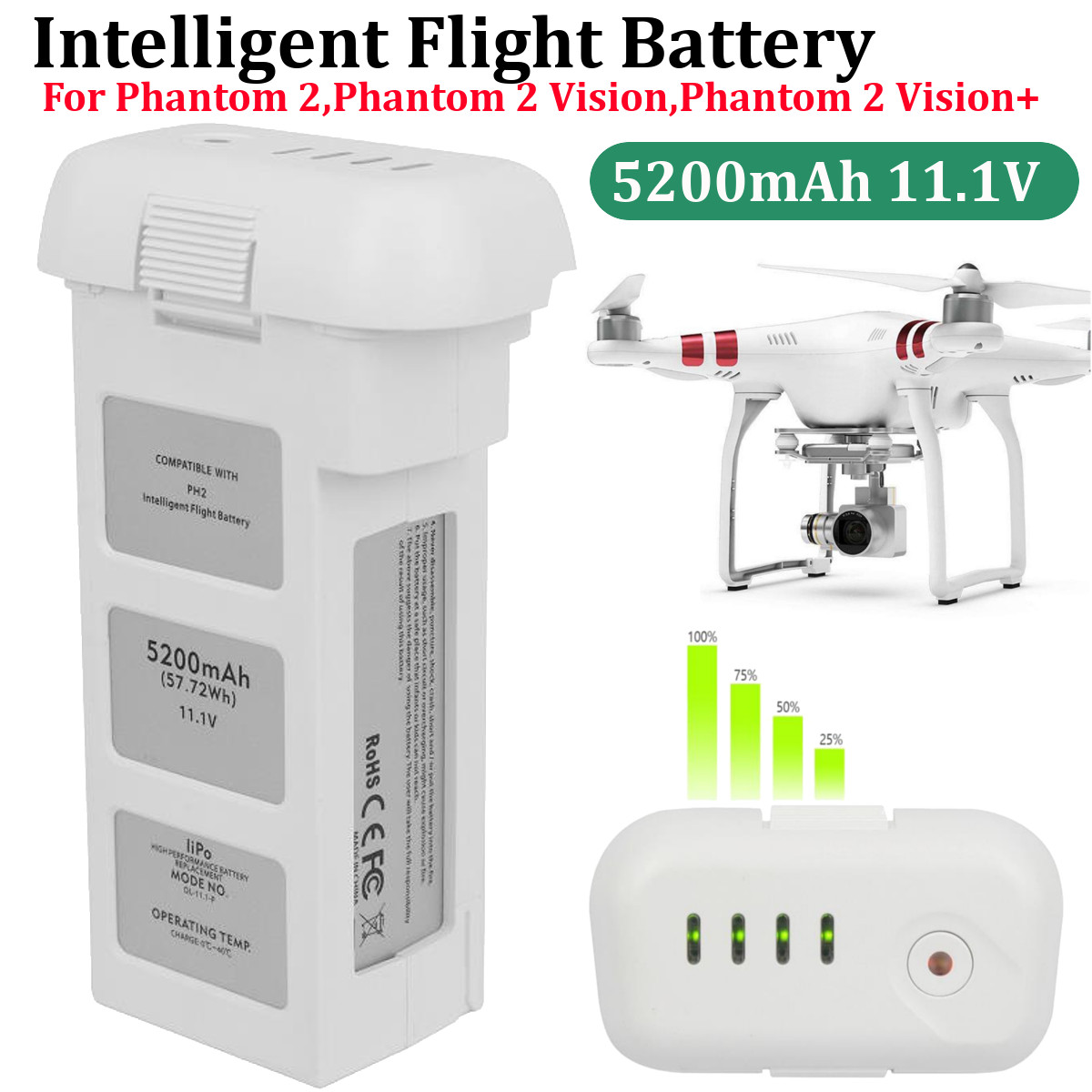 4480 mAh 5200mA véritable batterie de vol intelligente DJI Phantom 2 3 15.2 V, batterie de Drone électronique grand public LiPo 4 S 856678 P