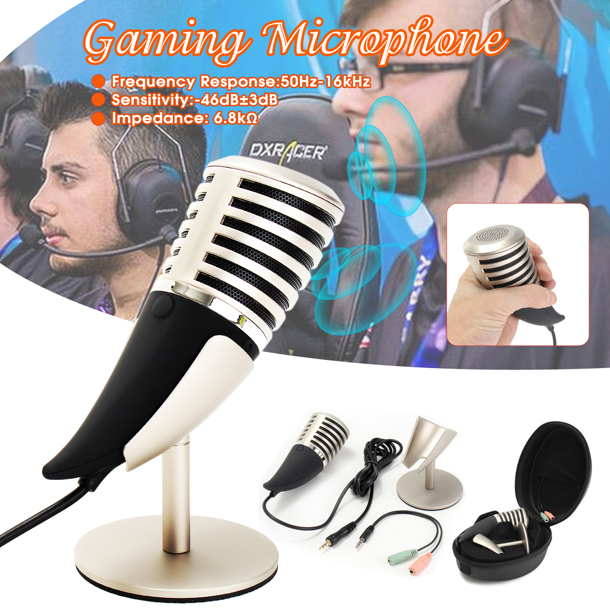 Pro Desktop Gaming Microphone Stand for Computer Laptop Mic With Holder Portable Audio Video Microphones
