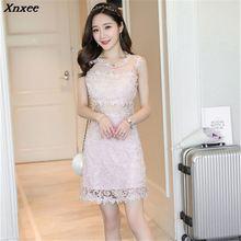 Summer Dress 2019 Women Casual Loose Short Mini Lace Hollow strapless High Waist Sexy Party Dresses Vestidos S-XL