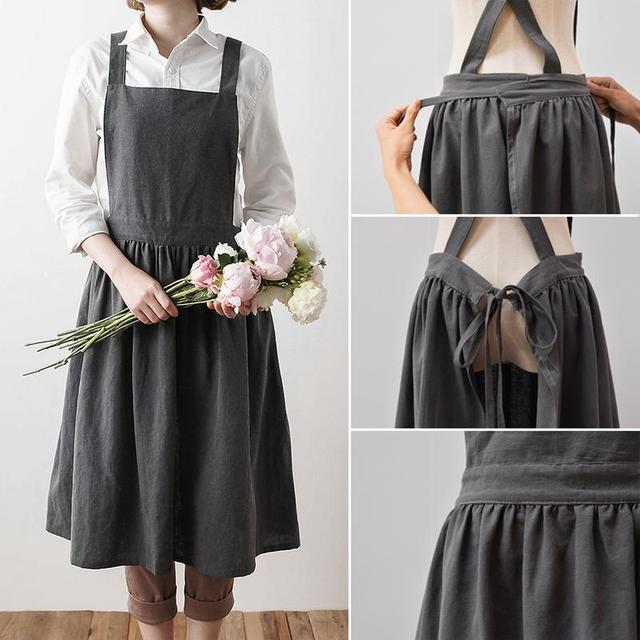 Nordic Simple Florist Apron Cotton Linen Gardening Coffee Shops Kitchen Aprons For Cooking Baking Overalls Apron Accessories 2