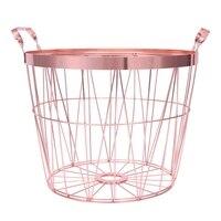 Rose Gold Metal Storage Basket Multifunction Bathroom Dirty Clothes Finishing Basket Portable Handles Organizer Basket