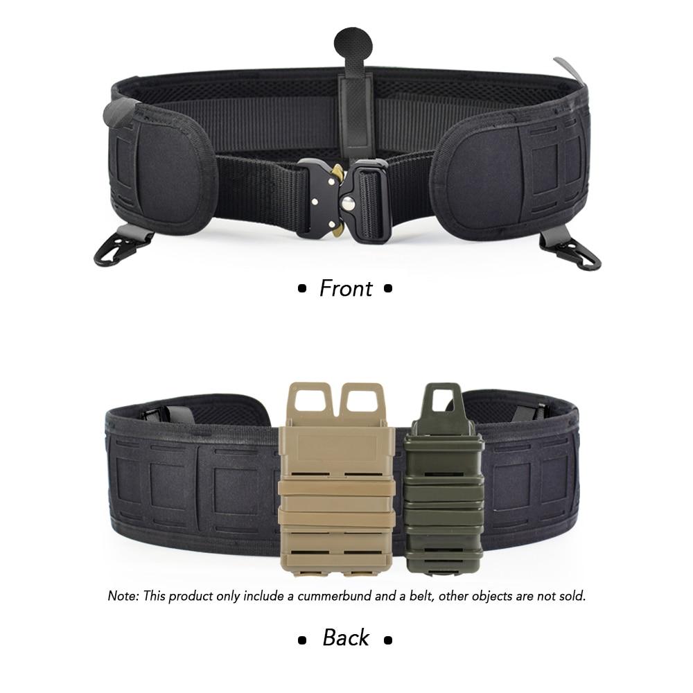 Image 4 - Military Airsoft Adjustable Tactical Belt Men Padded Molle Waist Belt Quick Release Combat Army Battle Hunting Belt CummerbundsWaist Support   -