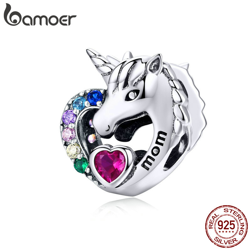 BAMOER Lucky Lincone Charms for Girls Heart Zirconia Mystery Rainbow Beads for Women Charm Bracelet Mothers Day Gifts SCC1160BAMOER Lucky Lincone Charms for Girls Heart Zirconia Mystery Rainbow Beads for Women Charm Bracelet Mothers Day Gifts SCC1160