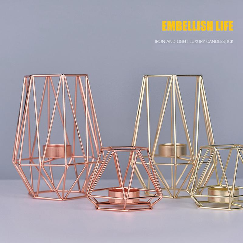 Nordic Romantic Dinner Candle Holders Geometric Candlestick Iron Candle Holder for Wedding Party Home Decor Accessories
