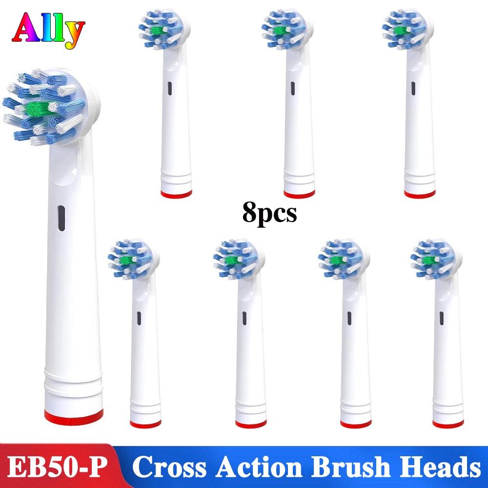 8 pcs EB50 Triunfar Vitalidade cabeças escova de dentes Elétrica Cabeças de Escova de Substituição Para OralB D19 D32 D29 Cruz Ação cabeças Escova de dentes